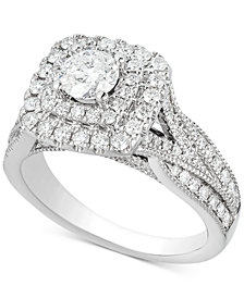 Diamond Elevated Halo Engagement Ring (1-1/2 ct. t.w.) in 14k White Gold