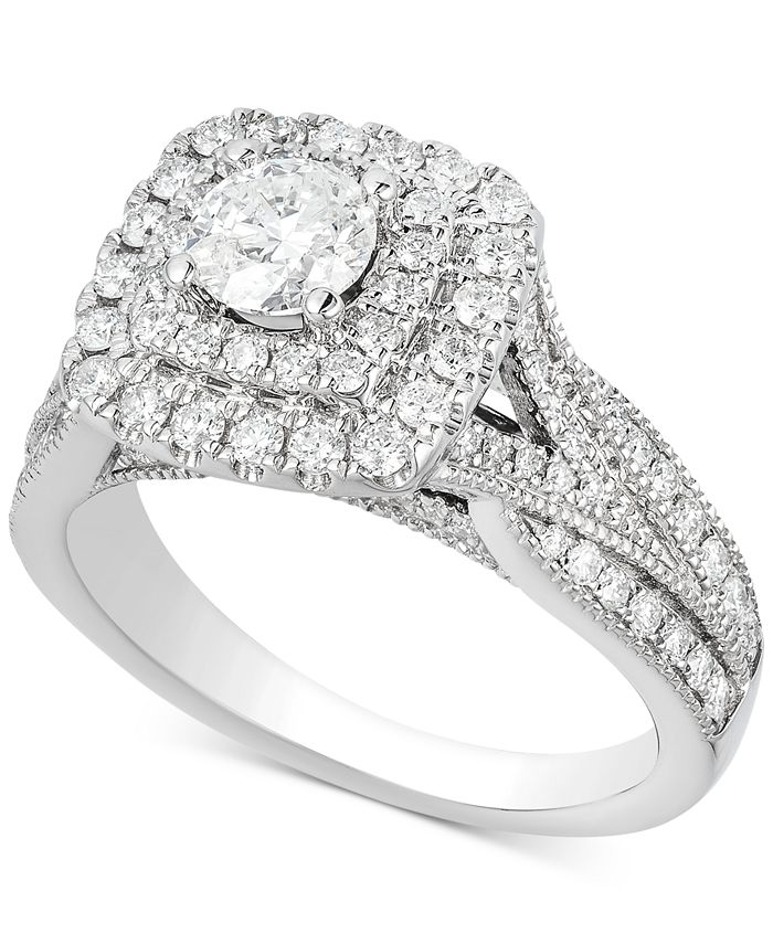 Macy's - Diamond Elevated Halo Engagement Ring (1-1/2 ct. t.w.) in 14k White Gold