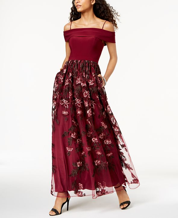 Nightway Off-The-Shoulder Embroidered Gown
