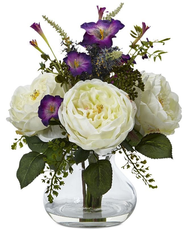 Nearly Natural Rose and Morning Glory Artificial Arrangement with Vase