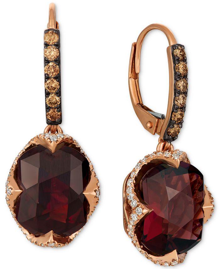 Le Vian - Rhodolite Garnet (9-5/8 ct. t.w.) & Diamond (3/4 ct. t.w.) Drop Earrings in 14k Rose Gold