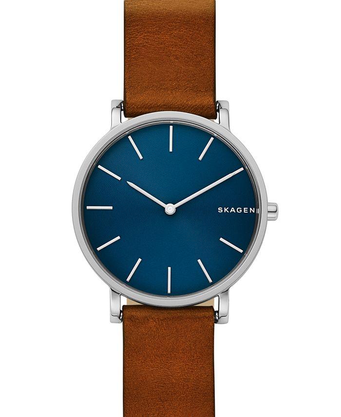 Skagen - Men's Hagen Slim Brown Leather Strap Watch 38mm
