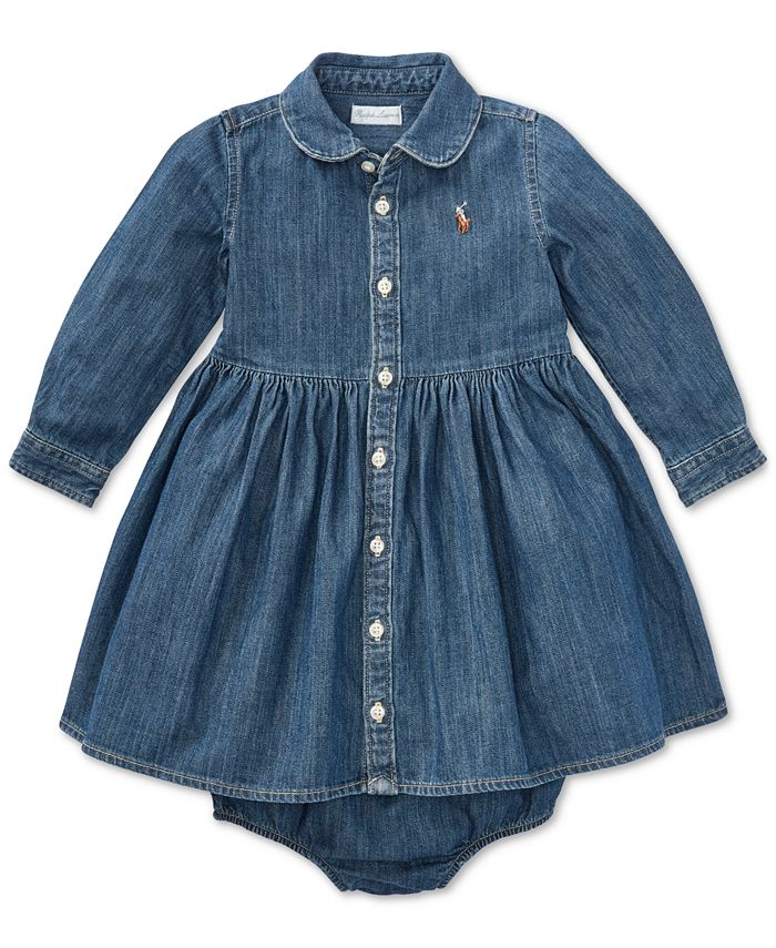 Ralph Lauren Baby Girls Denim Cotton Shirtdress