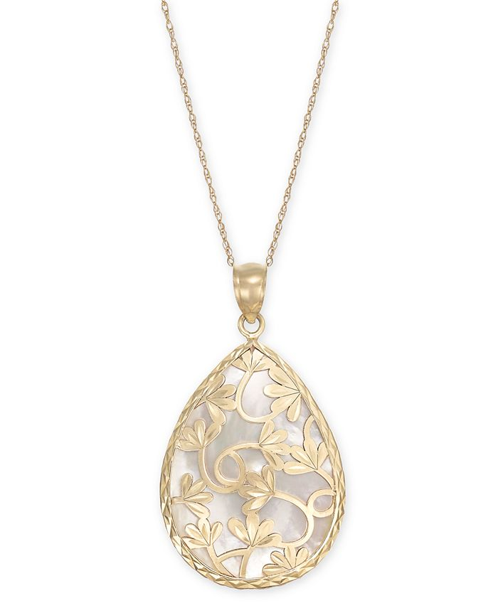 """Macy's - Mother-of-Pearl Flower Filigree 18"""" Pendant Necklace in 14k Gold"""