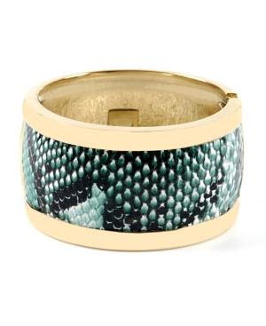 Haskell Bracelet, Teal Snake Print Bangle