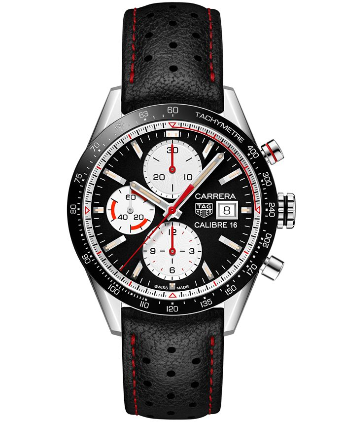 TAG Heuer - Men's Swiss Automatic Chronograph Carrera Calibre 16 Black Leather Strap Watch 41mm