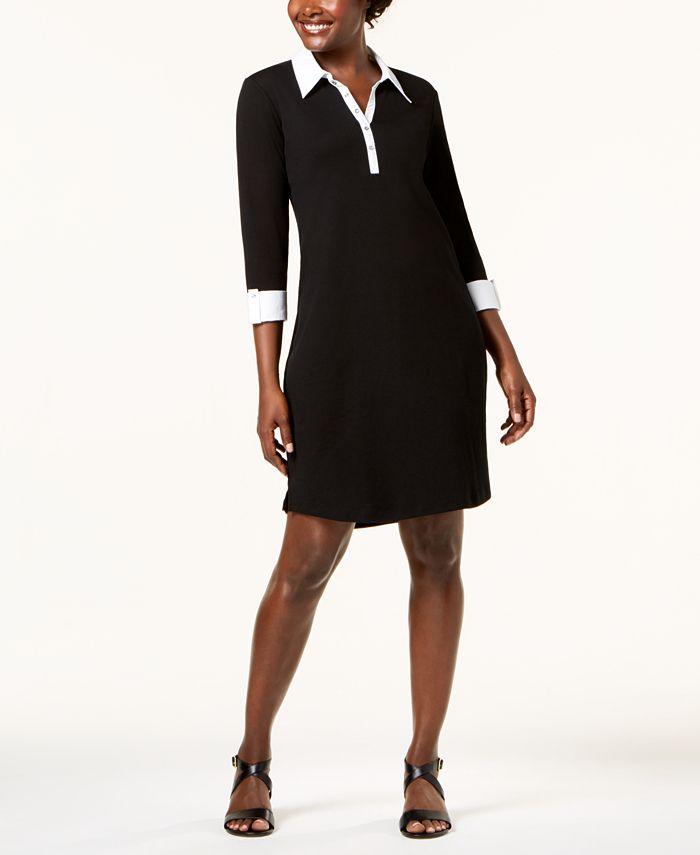 Karen Scott - Petite Contrast-Trim Cotton Shirtdress