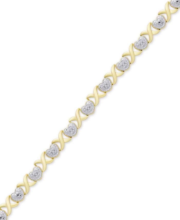 Macy's Diamond Accent Heart  X Link Bracelet in Silver-Plate & Reviews - Women - Macy's