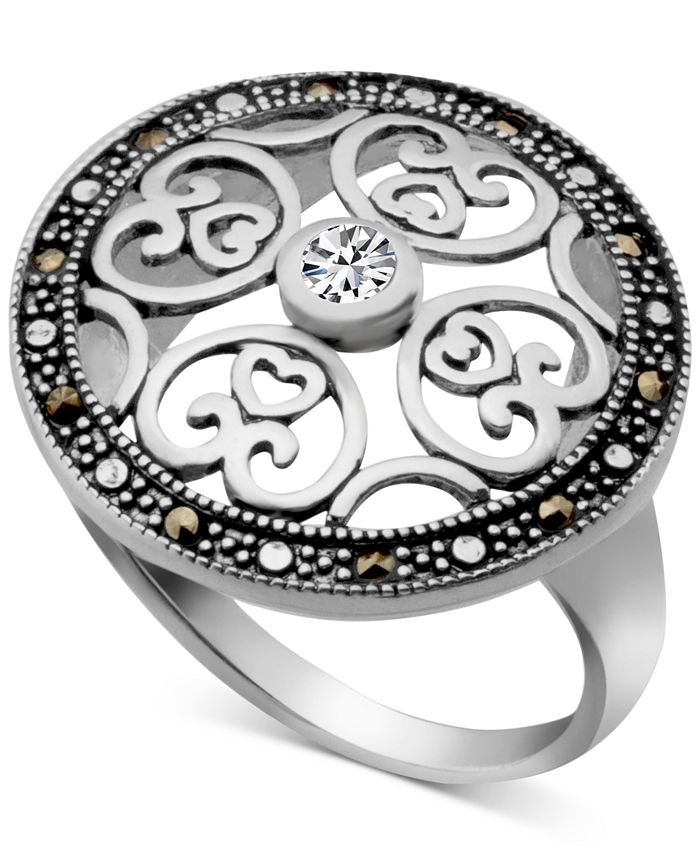 Macy's - Marcasite & Crystal Openwork Ring in Fine Silver-Plate