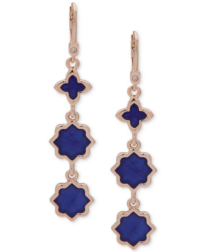 Ivanka Trump - Rose Gold-Tone Stone Linear Drop Earrings