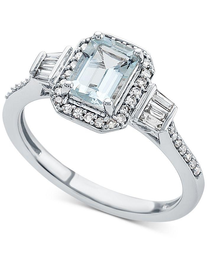 Macy's - Aquamarine (1 ct. t.w.) & Diamond (1/3 ct. t.w.) Ring in 14k White Gold