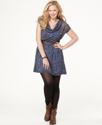 Eyeshadow Plus Size Dress, Short Sleeve Printed Belted Cowlneck