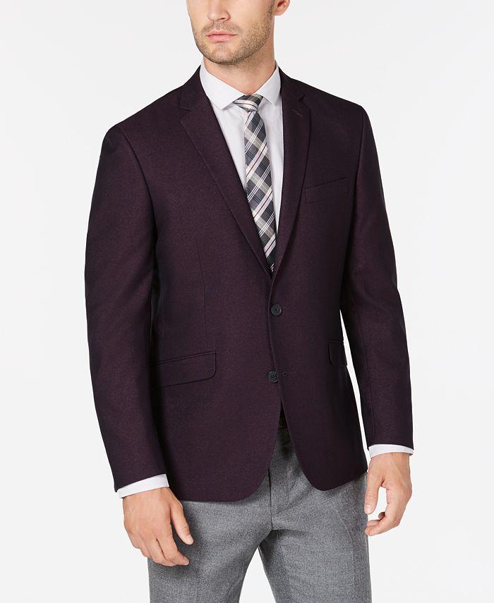 Kenneth Cole Reaction - Men's Slim-Fit Burgundy Shimmer Sport Coat