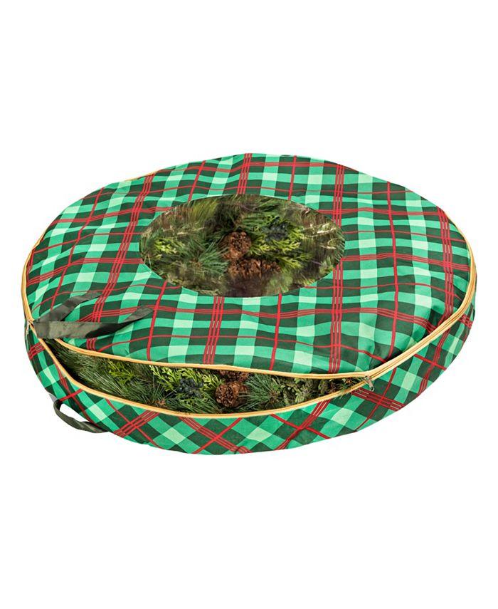 "Honey Can Do - Plaid 36"" Wreath Storage"