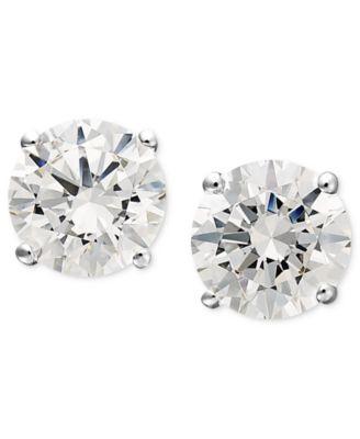 14k White Gold Earrings, Swarovski Zirconia Round Stud Earrings (1-3/4 ct. t.w.)
