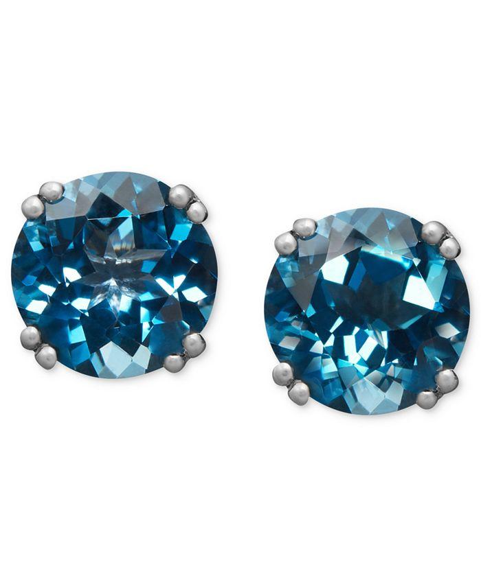 Macy's - 14k White Gold Earrings, London Blue Topaz Stud Earrings (4-1/2 ct. t.w.)