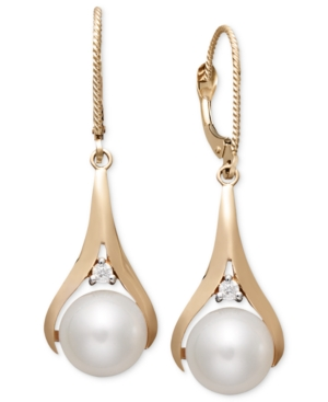 Pearl Earrings, 14k Rose Gold Cultured Freshwater Pearl and Diamond Accent Earrings