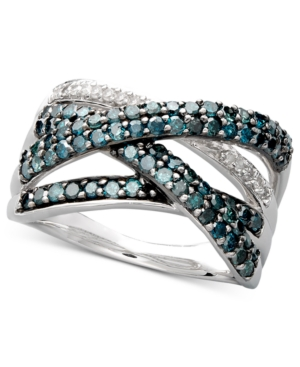 Sterling Silver Ring, Blue Diamond (1 ct. t.w.) and White Diamond Accent Crossover Ring