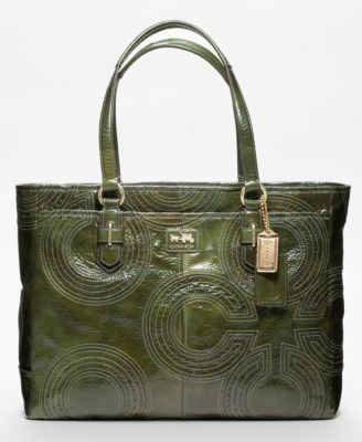 COACH CHELSEA INLAID PERFORATED PATENT LARGE SHOPPER