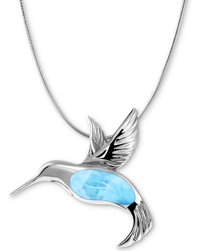 "Marahlago - Larimar Hummingbird 21"" Necklace in Sterling Silver"