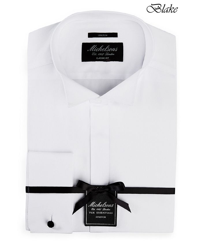 Michelsons - Men's Classic/Regular Fit Stretch Solid French Cuff Tuxedo Shirt
