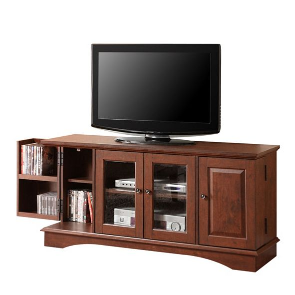 "Walker Edison 52"" Wood TV Media Stand Storage Console"