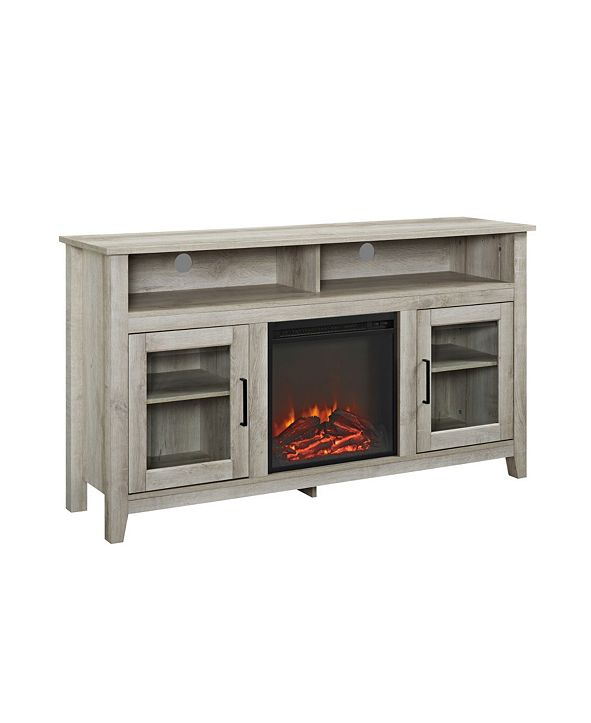 """Walker Edison 58"""" Wood Highboy Fireplace Media TV Stand Console"""