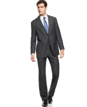 Hart Shaffner & Marx Suit, Charcoal Mini Check Modern Fit