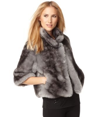 Calvin Klein Jacket, Three Quarter Sleeve Faux Fur Chubby