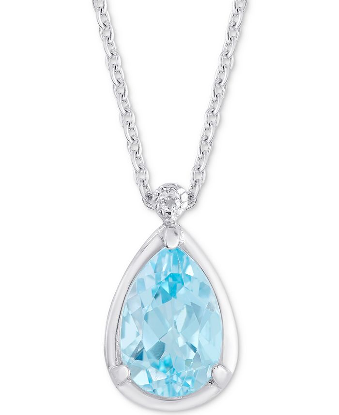 "Macy's - Blue Topaz (3-5/8 ct. t.w.) & White Topaz Accent 18"" Pendant Necklace in Sterling Silver"