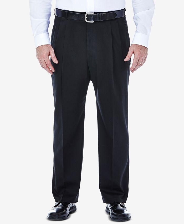 Haggar - Men's Big & Tall Premium No Iron Khaki Classic-Fit Pleated Hidden Expandable Waistband Pants