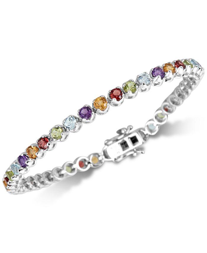Macy's Multi-Gemstone Tennis Bracelet (5 ct. t.w.) in Sterling Silver & Reviews - Bracelets - Jewelry & Watches - Macy's