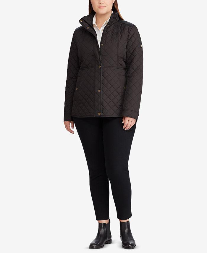 Lauren Ralph Lauren - Plus Size Faux-Leather-Trim Quilted Jacket