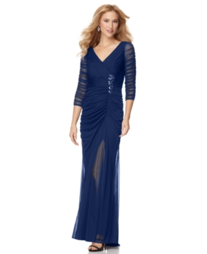 Adrianna Papell Petite Dress, Three Quarter Sleeve Ruched Evening Gown