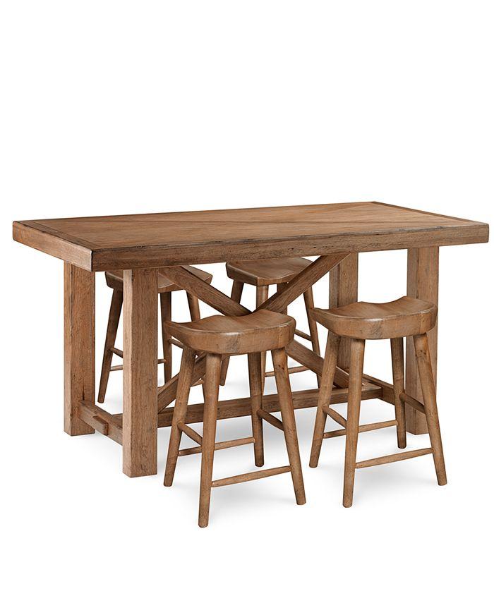 Furniture - Brewing Collection, 5-Pc.  Set (Gathering Table & 4 Hops Saddle Seat Gathering Stools)