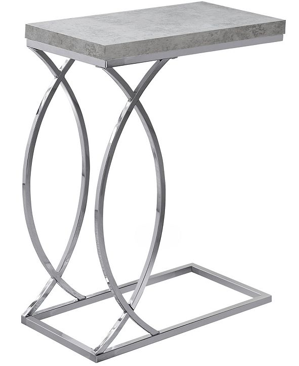 Monarch Specialties Chrome Metal Edgeside Accent Table in Grey Cement