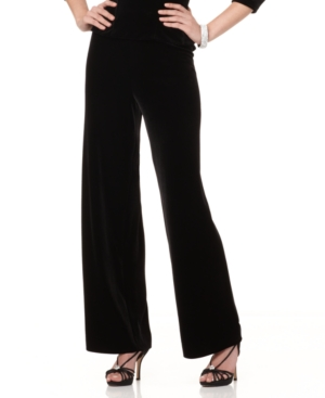 Alex Evenings Pants, Wide Leg Velvet Pull On