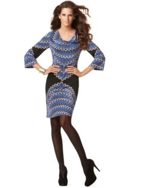 INC International Concepts Dress, Three Quarter Sleeve Cowl Neck Printed Jersey