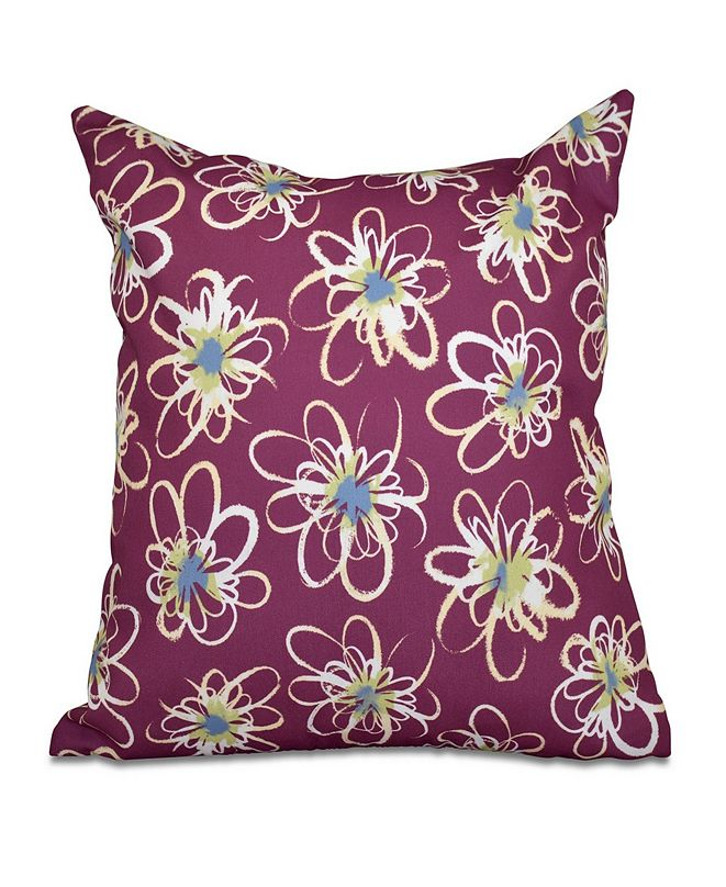 E by Design Penelope Floral 16 Inch Purple and Light Blue Decorative Geometric Throw Pillow