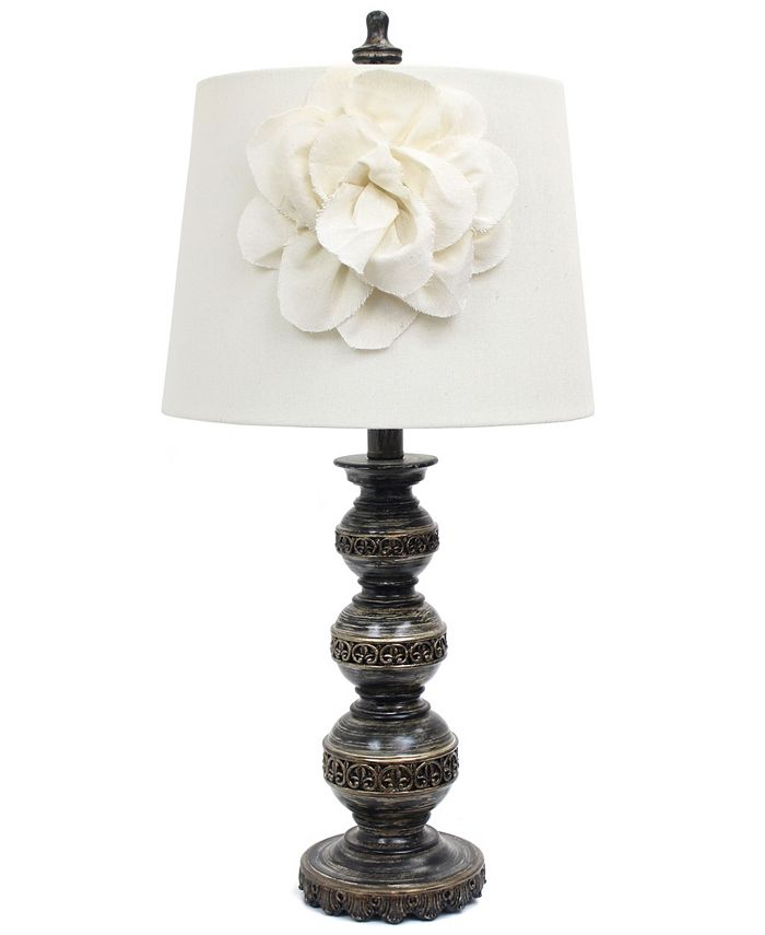 All The Rages - Aged Bronze Stacked Ball Lamp with Couture Linen Flower Shade