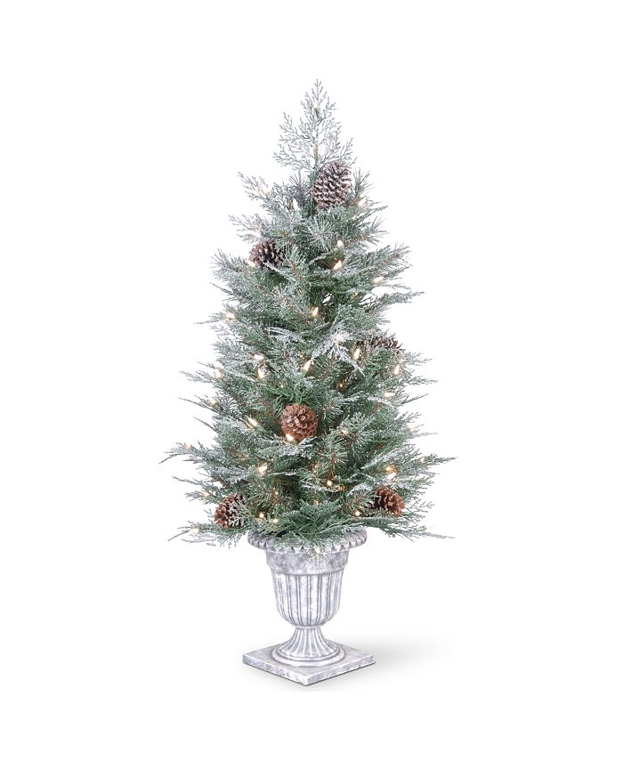 National Tree Company - 4' Feel Real®  Frosted Mountain Spruce Entrance Tree with  Cones in Silver Brushed Urn & 100 Clear Lights