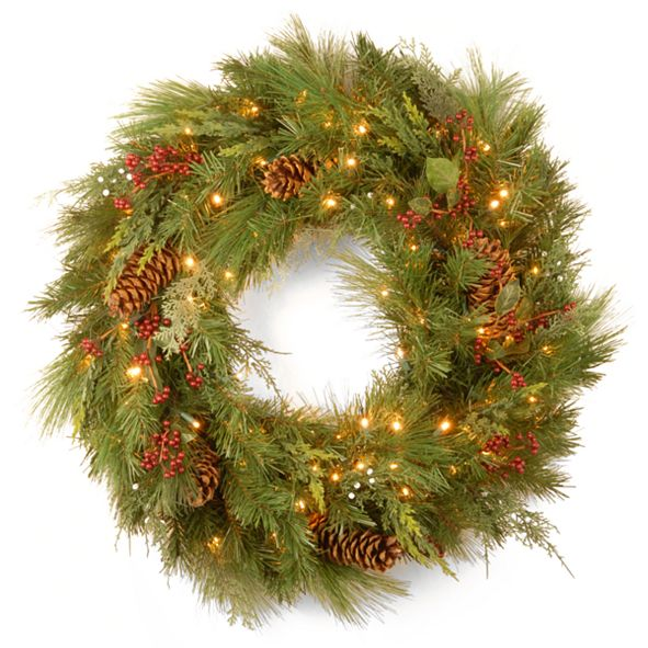 """National Tree Company National Tree 30"""" White Pine Wreath with Pine Cones and 100 Soft White LED Battery Operated Lights"""