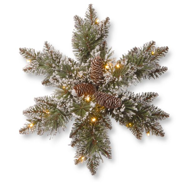 """National Tree Company 18"""" Glittery Bristle Pine Snowflakes with 6 Cones & 15 Warm White Battery Operated LED Lights w/Timer"""