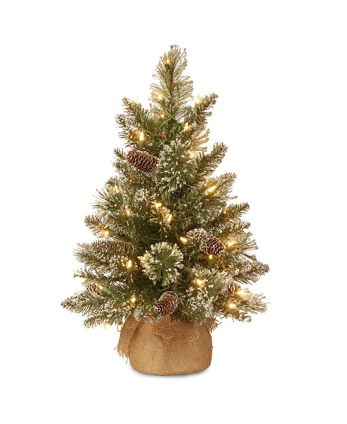 National Tree Company - 2' Glittery Bristle Pine Burlap Tree with 7 White Tipped Cones & 15 Warm White Battery Operated LED Lights w/Timer