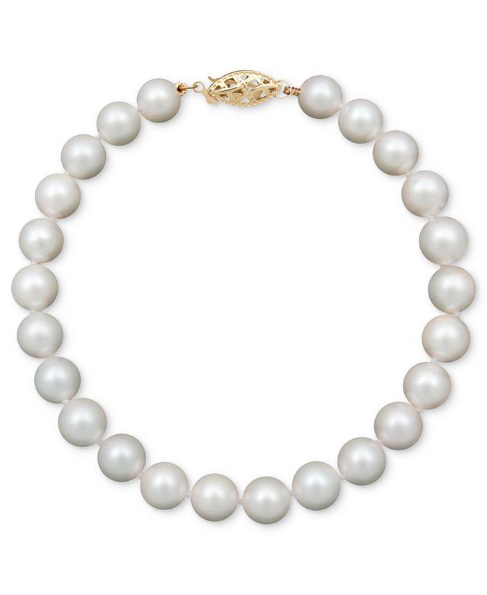 "Belle de Mer - Pearl Bracelet, 7-1/2"" 14k Gold A Cultured Freshwater Pearl Strand (6-7mm)"