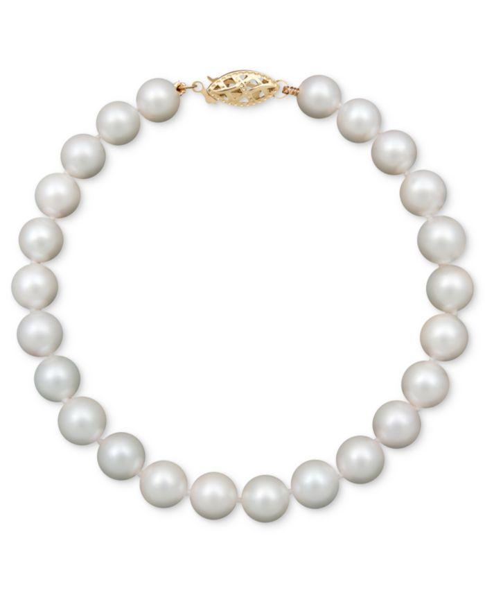 "Belle de Mer Pearl Bracelet, 7-1/2"" 14k Gold A Cultured Freshwater Pearl Strand (6-7mm) & Reviews - Bracelets - Jewelry & Watches - Macy's"