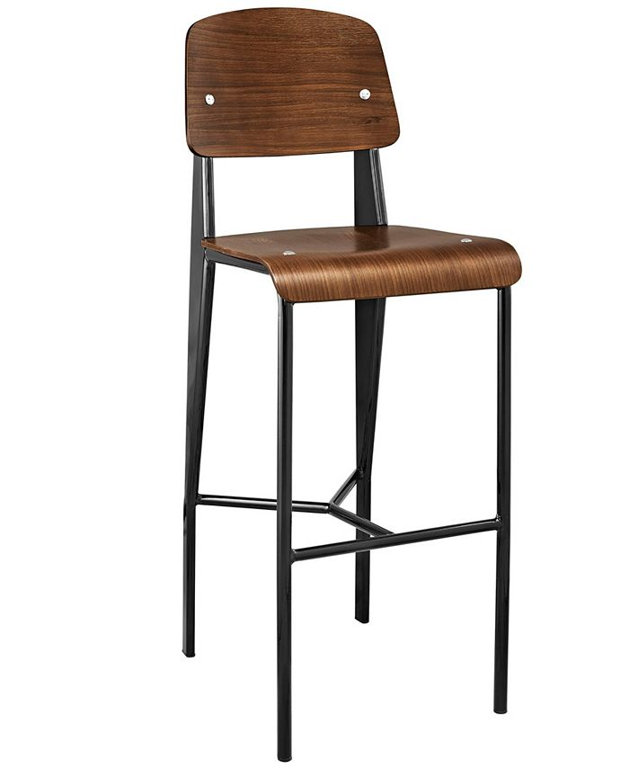 Modway - Cabin Bar Stool in Walnut Black