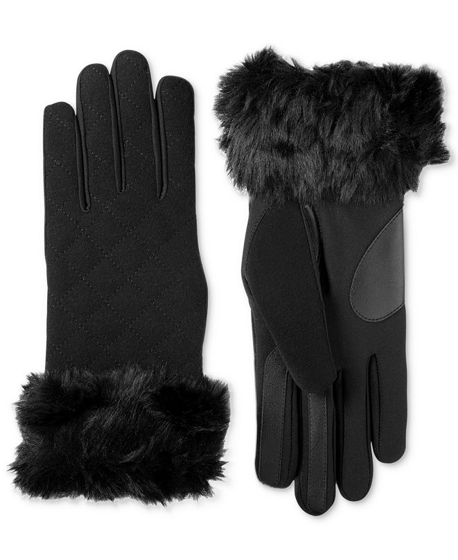 Isotoner Signature Isotoner Women's Touchscreen Boiled Wool & Spandex Gloves with Faux-Fur Cuff