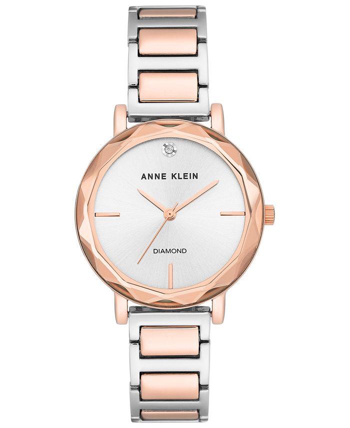 Anne Klein - Women's Diamond-Accent Two-Tone Bracelet 32mm