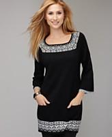 Style&co. Sweater, Three Quarter Sleeve Fair Isle Tunic